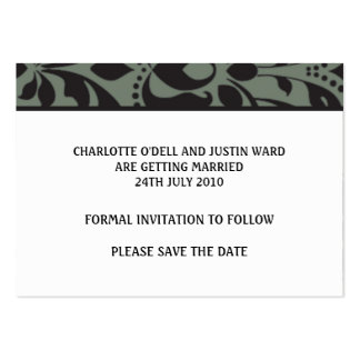 damask white; save the date business card templates