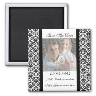 Damask White Save The Date Photo Magnet