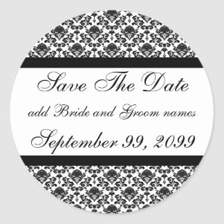 Damask White Save The Date Reminders Round Sticker