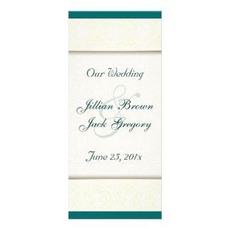 Damask White WEDDING Program Personalized Rack Card