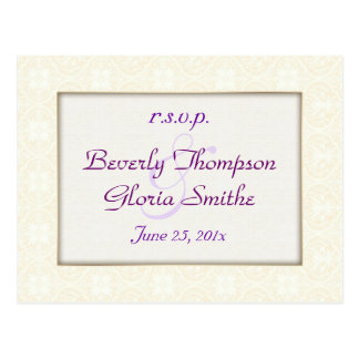 Damask White Wedding RSVP Postcard