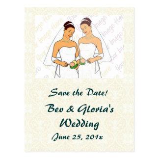 Damask White WEDDING Save-the-Date Postcard
