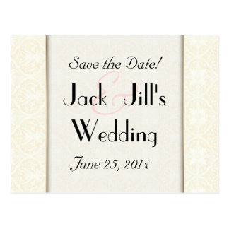 Damask White WEDDING Save-the-Date Postcard