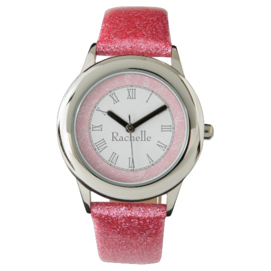 Damask wildflower print pink name wrist watch