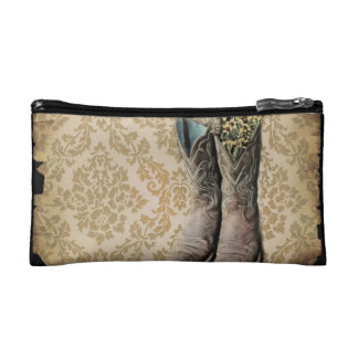 Damask wildflower Western country cowboy boots Makeup Bag