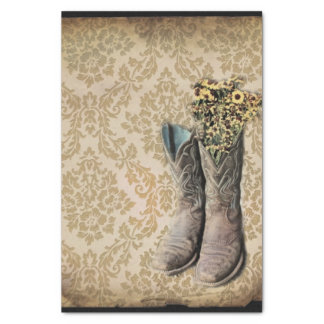 Damask wildflower Western country cowboy boots Tissue Paper