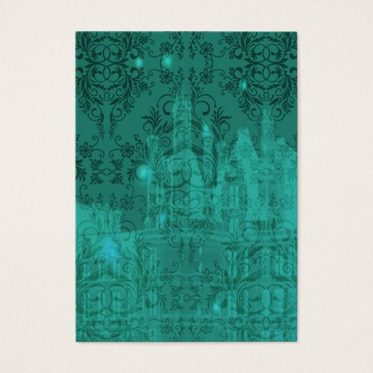 Damask Wildflowers, ANGEL'S CASTLE in Turquoise Business Card
