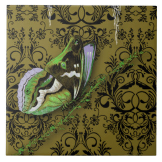 Damask Wildflowers, BUTTERFLY in Olive Large Square Tile