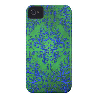 Damask Wildflowers, Electra in Green and Blue Case-Mate iPhone 4 Cases