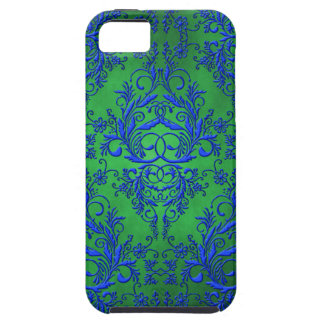 Damask Wildflowers, Electra in Green and Blue iPhone 5 Case
