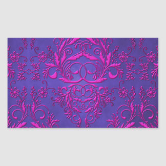 Damask Wildflowers, Electra in Purple and Magenta Rectangular Sticker