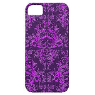 Damask Wildflowers, Embossed Metal in Purple iPhone 5 Cover