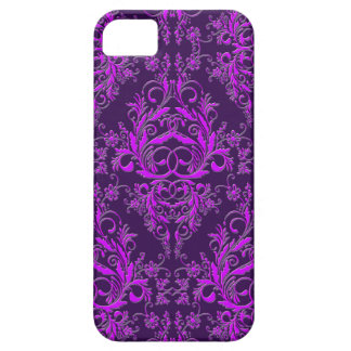 Damask Wildflowers, Embossed Metal in Purple iPhone 5 Cover