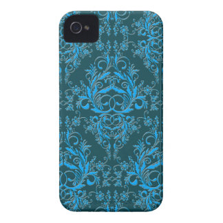 Damask Wildflowers, Embossed Metal in Teal & Blue iPhone 4 Cases