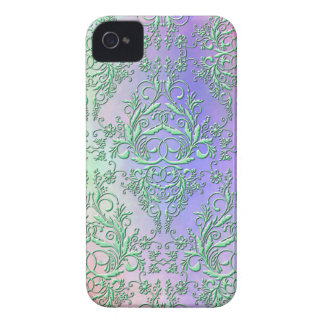 Damask Wildflowers, Party Lights in Green & Purple iPhone 4 Covers