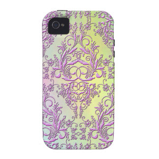 Damask Wildflowers, Party Lights in Pink & Yellow iPhone 4 Cases