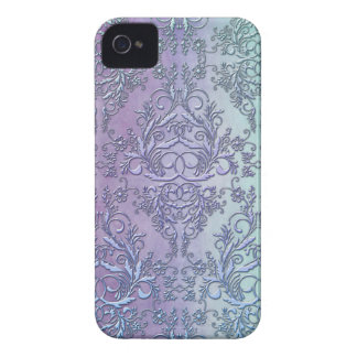 Damask Wildflowers, Watercolor in Purple & Aqua iPhone 4 Case-Mate Case