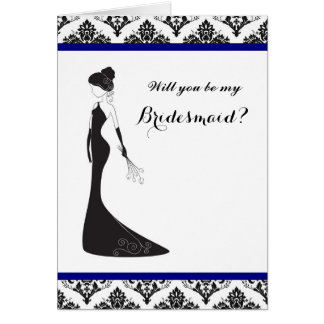 Damask Will You Be My Bridesmaid Card
