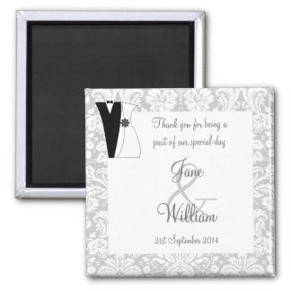 Damask with Bride and Groom Wedding Favor / Favour Square Magnet