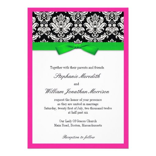 Damask With Green And Pink Wedding Invitation 13 Cm X 18