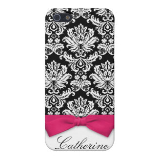Damask With Hot Pink Bow Design iPhone 4 Case