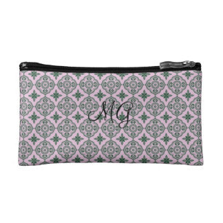 Damask with monogram cosmetics bags