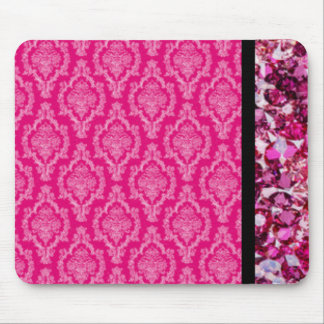 Damask With Pink Diamonds Mouse Pad