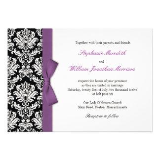 Damask With Purple Bow Wedding Invitation