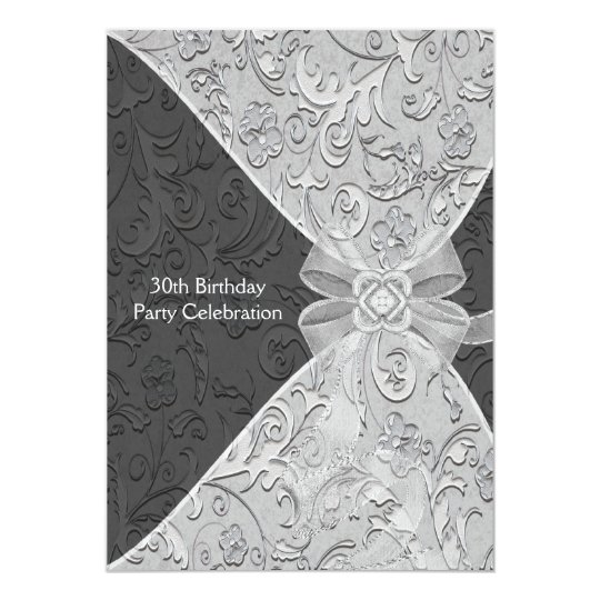 Damask Womans 30th Birthday Party Invitation