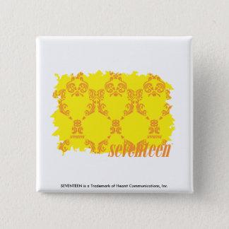 Damask Yellow-Orange 2 15 Cm Square Badge