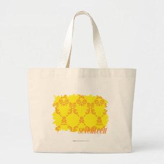 Damask Yellow-Orange 2 Large Tote Bag