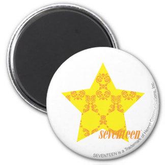 Damask Yellow-Orange 3 6 Cm Round Magnet