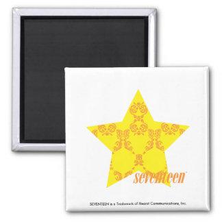 Damask Yellow-Orange 3 Fridge Magnets