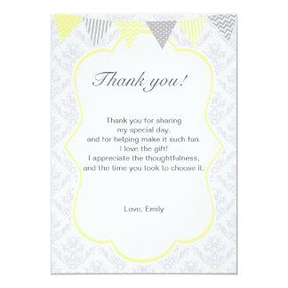 Damask Yellow Silver Grey Thank You Card 13 Cm X 18 Cm Invitation Card