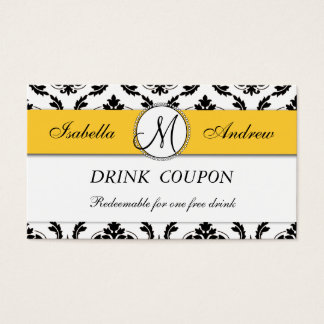 Damask Yellow Wedding Free Drink Coupon Card