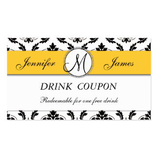 Damask Yellow Wedding Free Drink Coupon Card Pack Of Standard Business Cards