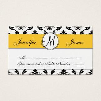 Damask Yellow Wedding Reception Table Escort Card