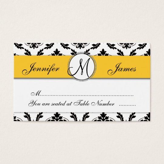 Damask Yellow Wedding Reception Table Escort Card