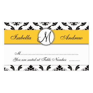 Damask Yellow Wedding Reception Table Escort Card Pack Of Standard Business Cards