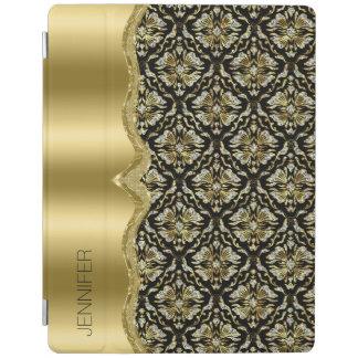 Damasks & Metallis Frame Black, Gold & Diamonds 2 iPad Cover