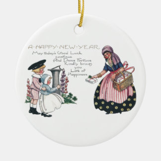 Dame Fortune Bringing Gifts Vintage New Year Round Ceramic Decoration