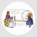 Dame Fortune's Lucky Spinning Wheel New Year Classic Round Sticker
