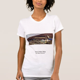 Dame Outdoor Sitting By Fattori Giovanni Tee Shirts