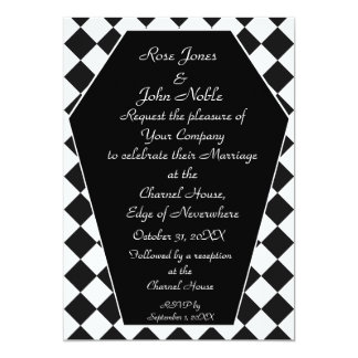 Damier Ivory (Charcoal) Wedding Invitation