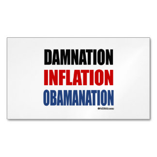 DAMNATION, INFLATION, OBAMANATION MAGNETIC BUSINESS CARDS