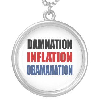 DAMNATION, INFLATION, OBAMANATION ROUND PENDANT NECKLACE