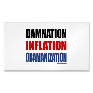 DAMNATION, INFLATION, OBAMANIZATION MAGNETIC BUSINESS CARDS