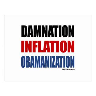 DAMNATION, INFLATION, OBAMANIZATION POSTCARD