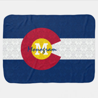 DaMonogram Personalized Damask Flag of Colorado Pramblankets