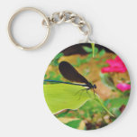 Damselfly and Rose Basic Round Button Key Ring